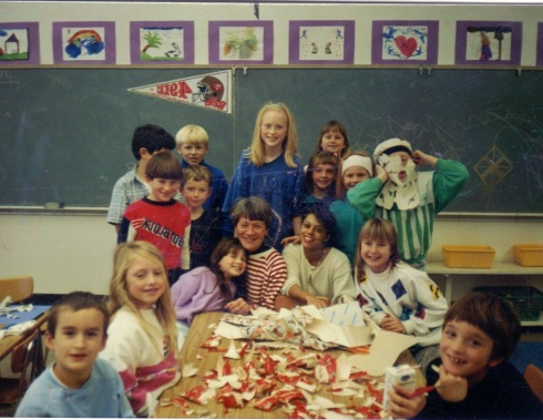 Me, my classroom aide, and some of my students making a fun mess!