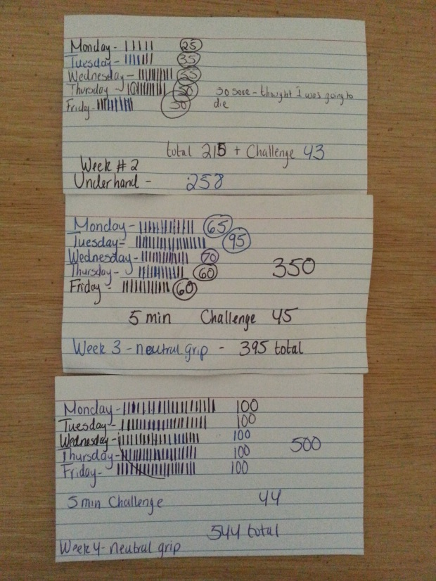 weekly chin up totals for Monday - Friday and  Saturday 5 minute challenges.