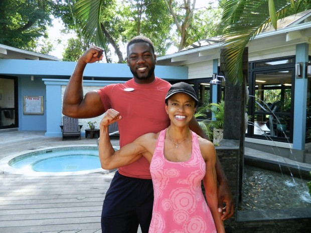 "Oh look what I found at the gym!  A little Jamaican muscle...yes...This was the man in charge of ""fitness"" activities at the resort so I saw him every morning!"
