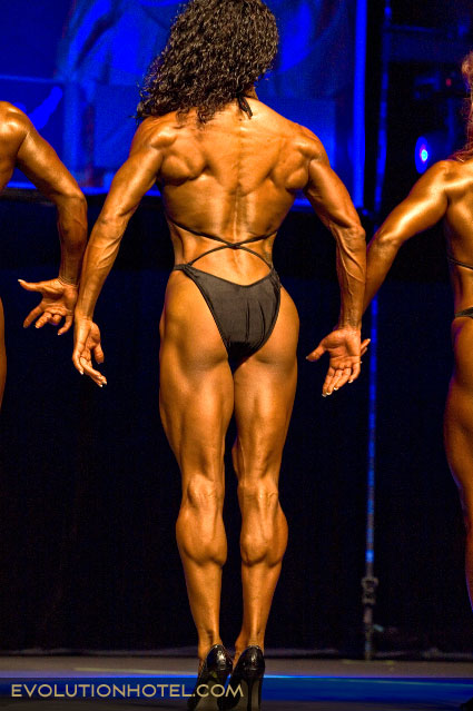 This is a photo of a rear view pose in a figure competition. (photo from Google images)