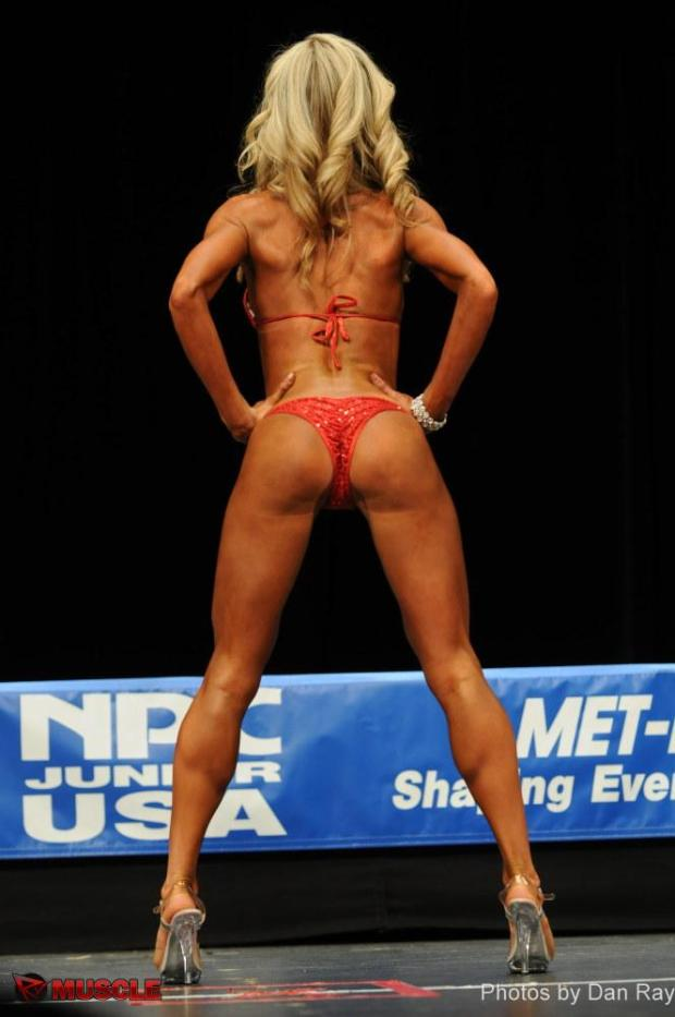 Rear pose for bikini competitions