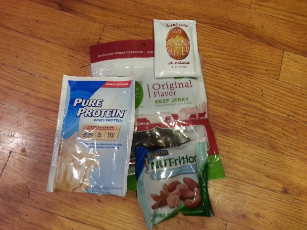 Right now I have almond butter, protein powder, mixed nuts and beef jerky in my pouch